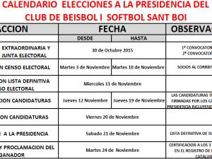 Calendario proceso electoral