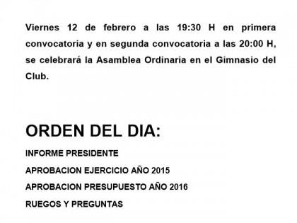 Convocatoria Asamblea Ordinaria –  12/02/2016