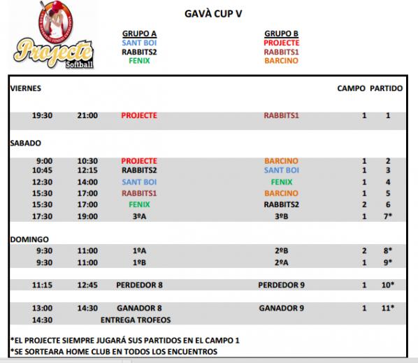 Calendario Gava Cup